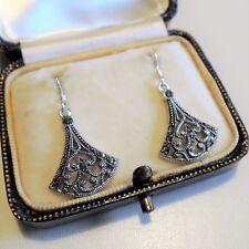 Sterling Silver Art Deco Marcasite Drop Earrings