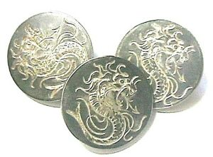 FRENCH 1920s SILVER PLATED BUTTONS~ CARVED DRAGON ~STAMPED: PARIS~ LOT OF 3 ~NEW