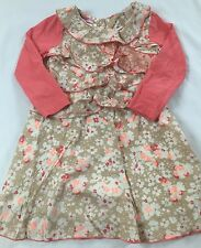 Pretty Beetle Juice London Size 5 Years Beige Pink Floral Ruffle Layered Dress