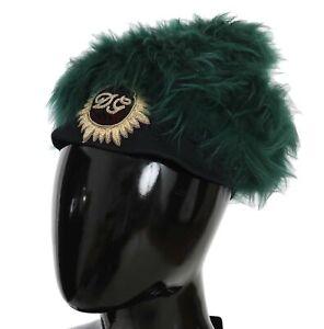 DOLCE & GABBANA Hat Green Fur DG Logo Embroidered Cloche Cap s. 56 / S RRP $1630