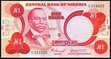 1979-84 Nigeria 1 Naira Banknote * F/35 524426 * UNC * P-19a * Sign 4 *