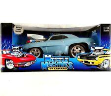 Muscle Machines 69 Camaro Light Ice Blue White Stripes Die Cast 1:18 New NIB