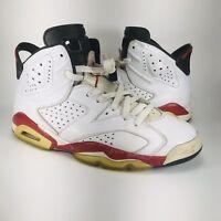 Nike Air Jordan VI 6 Retro Bulls White Varsity Red Carmine 384664-102 Size 8.5