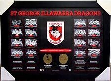 ST GEORGE ILLAWARRA DRAGONS HISTORICAL SERIES PRINT FRAMED - NRL DALLY M MEDAL