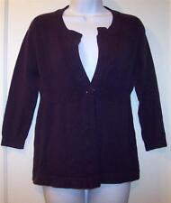 CAROLE LITTLE Sweater Sz S Small Purple Open Front Button Stretch Womens Cotton