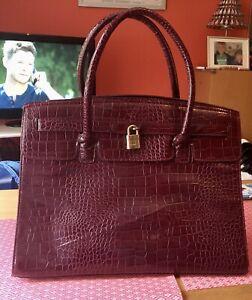 ALDO Oxblood Croc Print Kelly Faux Patent Leather Tote Bag. EXCELLENT CONDITION