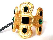 Massive Kenneth Jay Lane KJL Egyptian Green Crystal 22k Gld Plated Cuff Bracelet