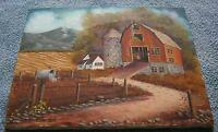 AMERICANA VINTAGE FARM BARN HOUSE STONE SILO WEATHER VANE MAILBOX OIL PAINTING
