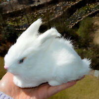 Realistic Lifelike Rabbit Fur Furry Animal Figurine Easter Bunny Photo Prop Deco