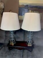 FREDERICK COOPER Lamps W/Original Signed Shades ANTIQUE BRASS & GLASS ORBS Pair