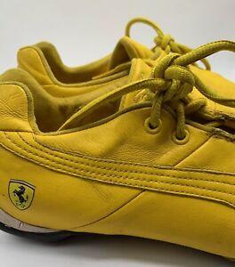 RARE Vtg. 1980s Puma FERRARI Yellow Leather Driving Drift Shoes Mens US 11 Used