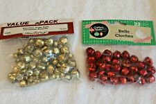 Lot small Jingle Bells Crafts Craft Supplies Red Gold 104 total New Cloches