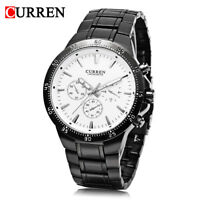 CURREN Men's Military Watch Chronograph Round Dial Steel Band Quartz Wristwatch