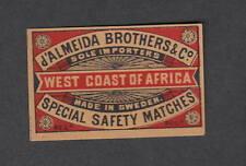 Ancienne étiquette   Allumette  Suède West  Coat of   Africa  Almeida