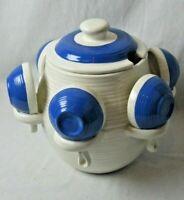 Vintage Blue/White Ceramic Soup Tureen  Bowl 1.5 Gallon w/lid  6 cup bowls Rare!