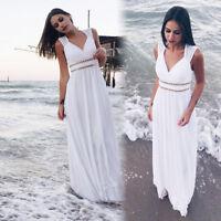 Ever-Pretty White Beach Summer Dress Long Chiffon Formal Party Dresses 08697