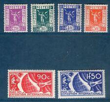 SERIE TIMBRES N° 322-327 NEUF ** GOMME ORIGINALE - EXPOSITION DE PARIS 1937