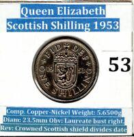 1953 Queen Elizabeth 11  ( Scottish Crest) One Shilling Coin. (VF condition)