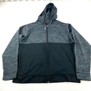 Reebok Sweater Youth Extra Large Gray Black Full Zip Hoodie Kids Boys