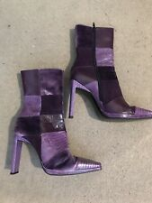 UK 5.5 CASADEI PURPLE LEATHER ANKLE BOOTS XMAS/TOWIE/PARTY/LOVE/CLUB RRP £120