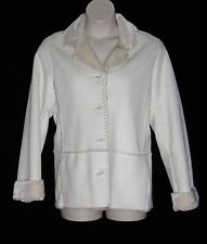 JONES NEW YORK – JACKET COAT – IVORY -SUEDE FABRIC & FAUX FUR –SIZE LG –NEW $190