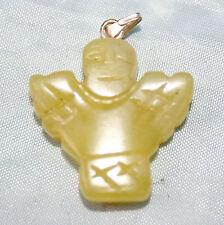 Olive Yellow Jade Crystal Gem Stone Angel Pendant Plus Reiki Empowered Blessed