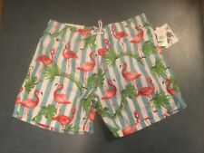 Trunks Surf & Swim Co. Men's L Striped Flamingo Print Mesh Lined Swim Trunks NWT