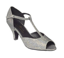 New Ladies or Girls Ballroom Dance Shoes Sz 2  Silver, Suede Sole, Latin,