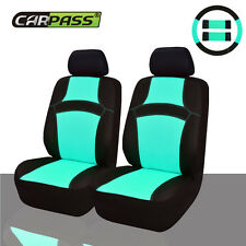 Universal Mint Two Front Car Seat Covers Steering wheel cover Seat belt Covers