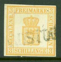 Germany 1856 Mecklenberg Schwerin 3 Sh Orange Yellow SG #3 VFU G196 ⭐⭐⭐⭐⭐