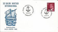 España España 1982 XX salón Nautico barcos de vela Barcelona 5pta Tarjeta de sello