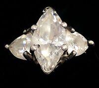 Vintage Sterling Silver Ring 925 Size 7 Signed M CZ