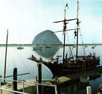 Pirate ship at Morro Bay rock dock boats harbor California Vintage Postcard