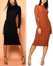 2c3e435e28e2 New Ladies Womens Jumbo Rib High Neck Midi Dress