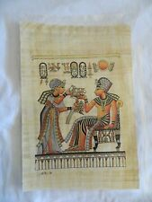 Egyptian Papyrus Paper Painting King Tut & Queen Lotus Flowers 9X13""
