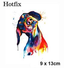 Bügelbild Bunter Hund Dackel Hotfix Applikation für Ihre Textilien 9, x 13 cm