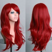 Long Straight Curly Wavy Hair Wig Women Cosplay Full Wig Pink Black Brown Blonde