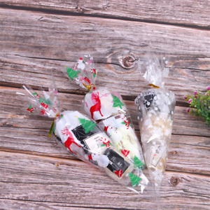50X Christmas Xmas Snowflake Party Clear Cone Cello Candy Sweet Bags & Twist Tie