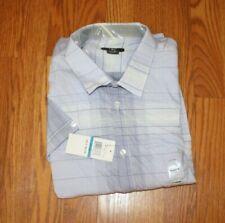 NWT Mens CALVIN KLEIN Dress Periwinkle White Plaid Short Sleeve Dress Shirt XL