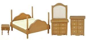 Dolls House Walnut Bedroom Furniture Set 1:24 Half Inch Scale Miniature Suite