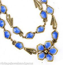 SAPPHIRE BLUE FLORAL CRYSTAL RHINESTONE Chunky Gold Pendant Statement Necklace