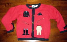 Guc Hartstrings Red Knit Cardigan Sweater Size 5/6 Jockey Lackey Horse Christmas