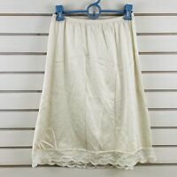 Vintage Womens L Vanity Fair Half Slip Off White Nylon Lace Trim Hem USA
