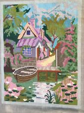 Fab Vtg Completed Needlepoint Tapestry Cottage By River With Moored Boat