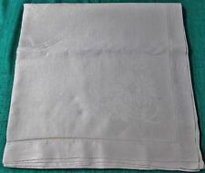 Antique Linen Damask Tablecloth Gerbera Daisies Ribbons & Garlands Almost Square