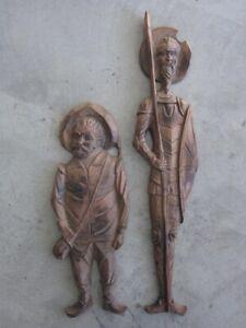 Don Quijote und Sancho Pansa, große Holzfiguren, Wandfiguren