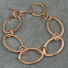 "Large Brushed Textured Solid Copper Oval Round Link Chain Bracelet 6 1/2"" -7 1/2"