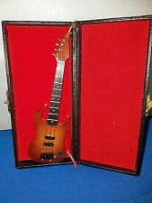 Electric Bass Guitar Replica wooden w Metal Strings Dk Brown w Case 6 inches 1