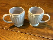 Set of 2 LENOX French Perle Violet Lilac  12OZ Coffee Mugs Fluted Groove NICE
