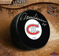 JACQUES LEMAIRE Signed Montreal Canadiens Original Six Puck